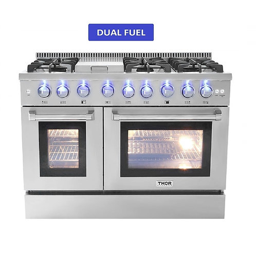 "Thor Kitchen 48"" Dual Fuel Range 6 Burner With Griddle and Double Oven"