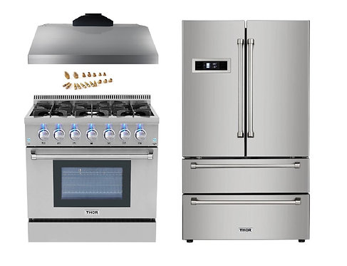 """Propane Converted 36"""" Gas Range 3-Piece Package"""