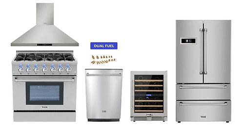 "36"" Dual Fuel Range Thor Kitchen 5 Piece Bundle, LP"