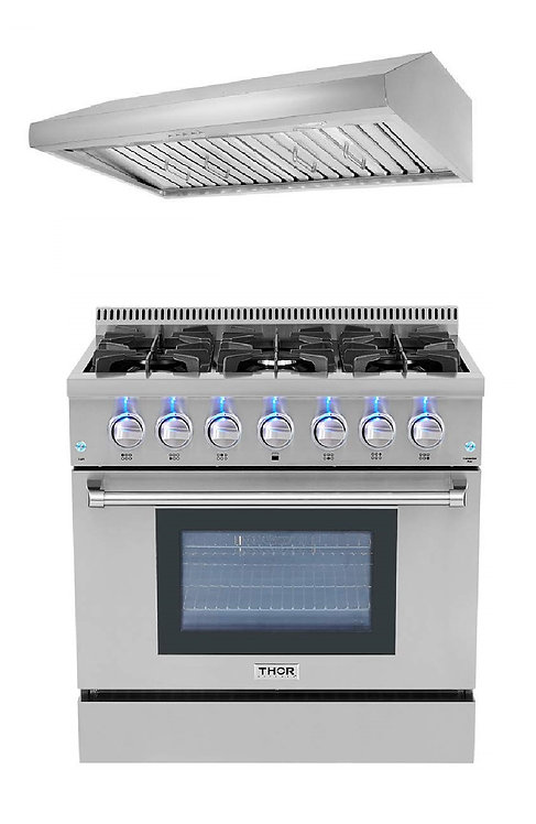 "Thor Kitchen 36"" Gas Range 2-Piece Package"