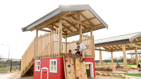 Cubby house & climbing wall