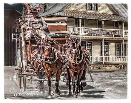 Georgetown, California.  Stagecoach leaving Georgetown Hotel.  Horses, stagecoach.