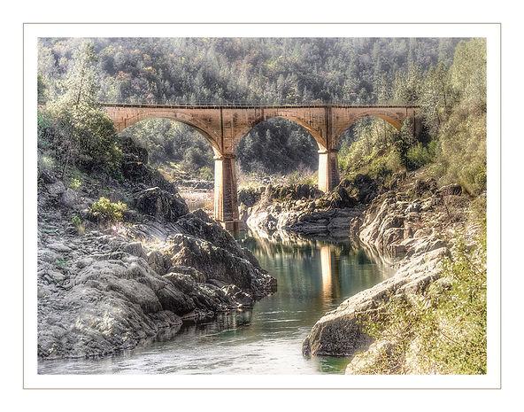 Quarry Bridge, No Hands Railroad Bridge Auburn, California.  Ameican River.