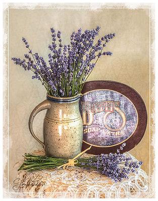 Lavendar-Baths, soap, lavendar sprigs, bathroom art, wall art