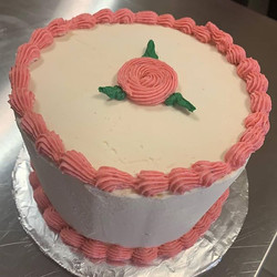 Vanilla cake with Raspberry filling and Raspberry and Vanilla Frosting