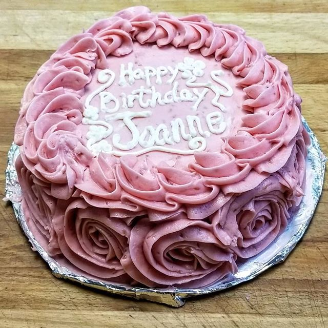 Vanilla Cake with Raspberry Frosting
