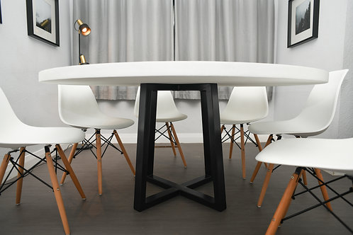 The Futurist Table - Round white top with black base