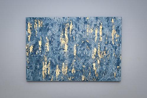 Blue damask stencil plaster work/art panel with 24k gold leaf detail.