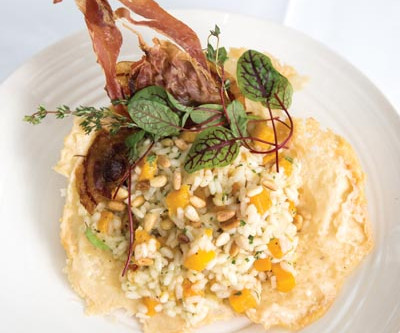 Roasted butternut squash risotto with crispy pancetta, pine nuts & thyme