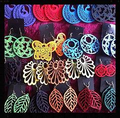 Wooden earrings by Sharon Jong, artist of Edmonton, Alberta