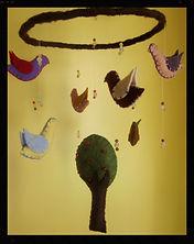 Birds & tree mobile, wool felt by Sharon Jong, artist of Edmonton Alberta