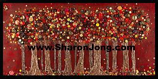 """""""Eliot's forest"""" button tree fine art multi textured painting by Sharon Jong, artist of Edmonton, Alberta"""