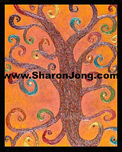 """Flying circus"" fine art multi textured tree painting with tiny mirrors by Sharon Jong, artist of Edmonton, Alberta"
