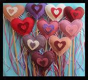 Heart play wands, wool felt by artist Sharon Jong of Edmonton, Alberta