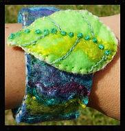 handfelted leaf wrist cuffs, wetfelt all wool by Sharon Jong, artist of Edmonton, Alberta