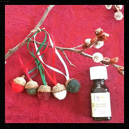 Aromatherapy hanging wool acorn christmas tree ornaments by Sharon Jong, artist of Edmonton, Alberta