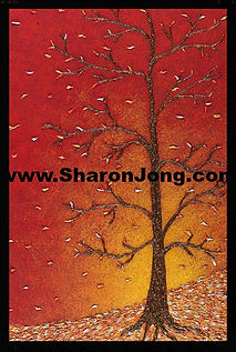 """All that glitters turns to Gold"" fine art multi textured tree painting by Sharon Jong, artist of Edmonton, Alberta"