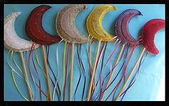 Rainbow moon play wands, wool felt by artist Sharon Jong of Edmonton, Alberta
