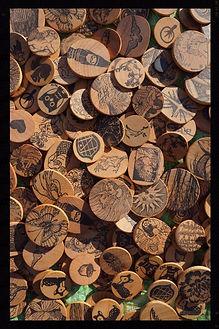 Wooden handstamped magnets by Sharon Jong, artist of Edmonton, Alberta