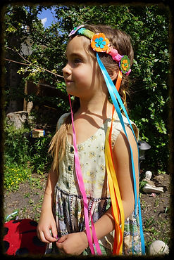 Ribbon & flower crowns by Sharon Jong, artist of Edmonton, Alberta