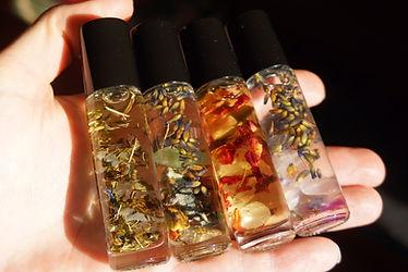Gemstone & herbally infused perfume rollers by Sharon Jong, artist in Edmonton, Alberta