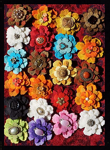 """Junque"" flower hairclips, single, all wool by Sharon Jong, artist of Edmonton, Alberta"