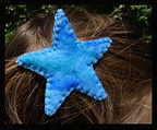 star hair clip, all wool, needlefelted by Sharon Jong, artist of Edmonton, Alberta