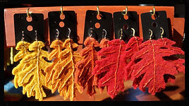 Leaf oak earrings, wool felt by Sharon Jong, artist of Edmonton, Alberta