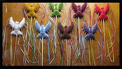 Pheonix bird play wands, wool felt by artist Sharon Jong of Edmonton, Alberta