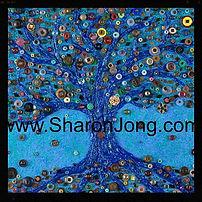 """Blue reflections"" fine art multi textured button tree & tiny mirrors painting by Sharon Jong, artist of Edmonton, Alberta"