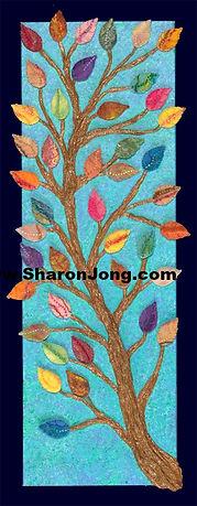 """The Golden bough"" fine art multi textured tree painting wool felt leaves by Sharon Jong, artist of Edmonton, Alberta"