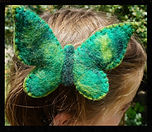 Single butterfly hair clip, all wool, needlefelted by Sharon Jong, artist of Edmonton, Alberta