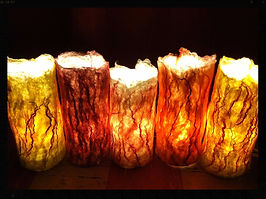 Handfelted lamp covers, all wool wetfelted by Sharon Jong, artist of Edmonton, Alberta