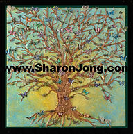 """""""Sanctuary"""" fine art multi textured butterfly tree painting by Sharon Jong, artist of Edmonton, Alberta"""