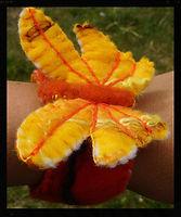 handfelted butterfly wrist cuffs, wetfelt all wool by Sharon Jong, artist of Edmonton, Alberta