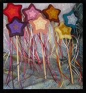 Rainbow star play wands, wool felt by artist Sharon Jong of Edmonton, Alberta