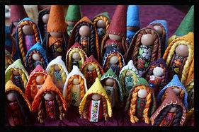 Wooden gnomes by Sharon Jong, artist of Edmonton, Alberta
