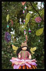 Flower fairy mobile, wool felt by Sharon Jong, artist of Edmonton Alberta