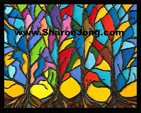 """""""Kaleidoseasons"""" fine art multi textured tree painting by Sharon Jong, artist of Edmonton, Alberta"""