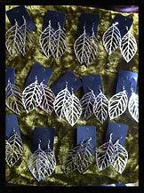 Metal filgaree leaf earrings by Sharon Jong, artist of Edmonton, Alberta