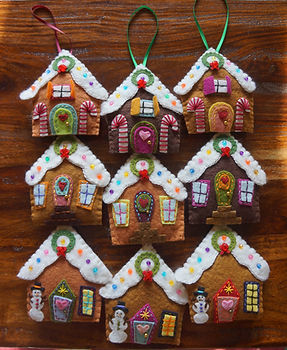 Hanging wool felt & stuffed gingerbread house christmas tree ornaments by Sharon Jong, artist of Edmonton, Alberta