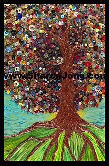 """""""Soul tree"""" fine art multi textured painting button tree by Sharon Jong, artist of Edmonton, Alberta"""