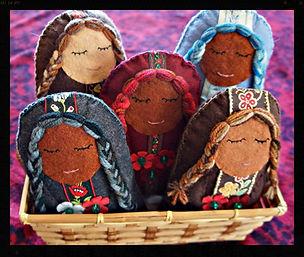 Women of flowers, wool felt wool stuffed soft sculpture dolls by Sharon Jong, artist of Edmonton, Alberta
