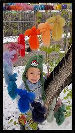 Rainbow Angels mobile, wool felt by Sharon Jong, artist of Edmonton Alberta