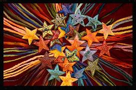 Shooting star hairclips, all wool by Sharon Jong, artist of Edmonton, Alberta