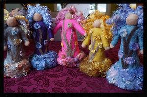 """Tree Spirits"" all wool hand felted soft sculpture 3d needlefelted doll by Sharon Jong, artist of Edmonton, Alberta"