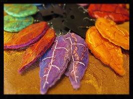 Handfelted wet felt leaf earrings by Sharon Jong, artist of Edmonton, Alberta