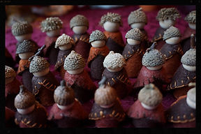 Wooden acorn gnomes by Sharon Jong, artist of Edmonton, Alberta