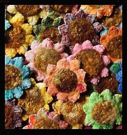 Hand felted needlefelted all wool sun flower brooches by Sharon Jong, artist of Edmonton, Alberta