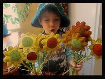 Sunflower play wands, wool felt by artist Sharon Jong of Edmonton, Alberta